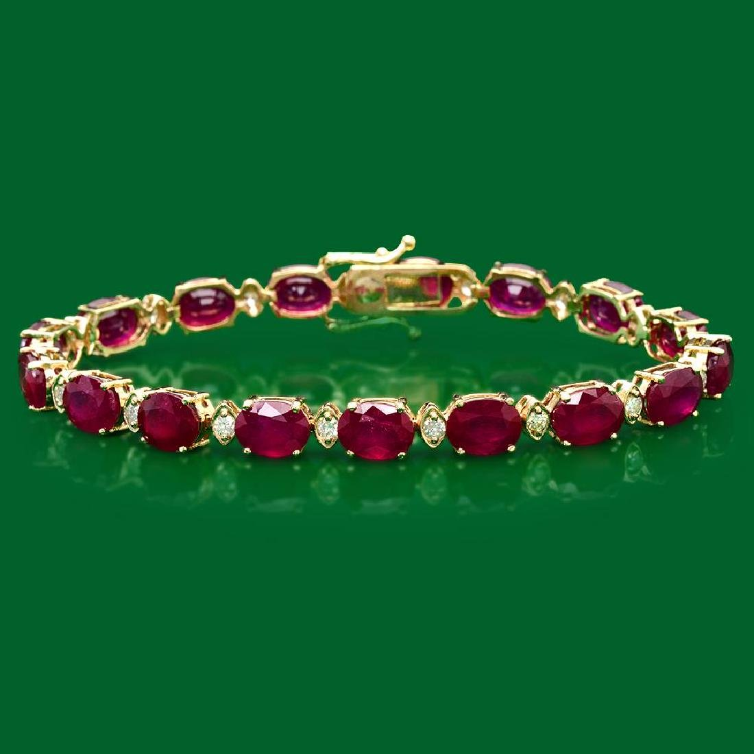 14k Gold 31.62ct Ruby 0.85ct Diamond Bracelet