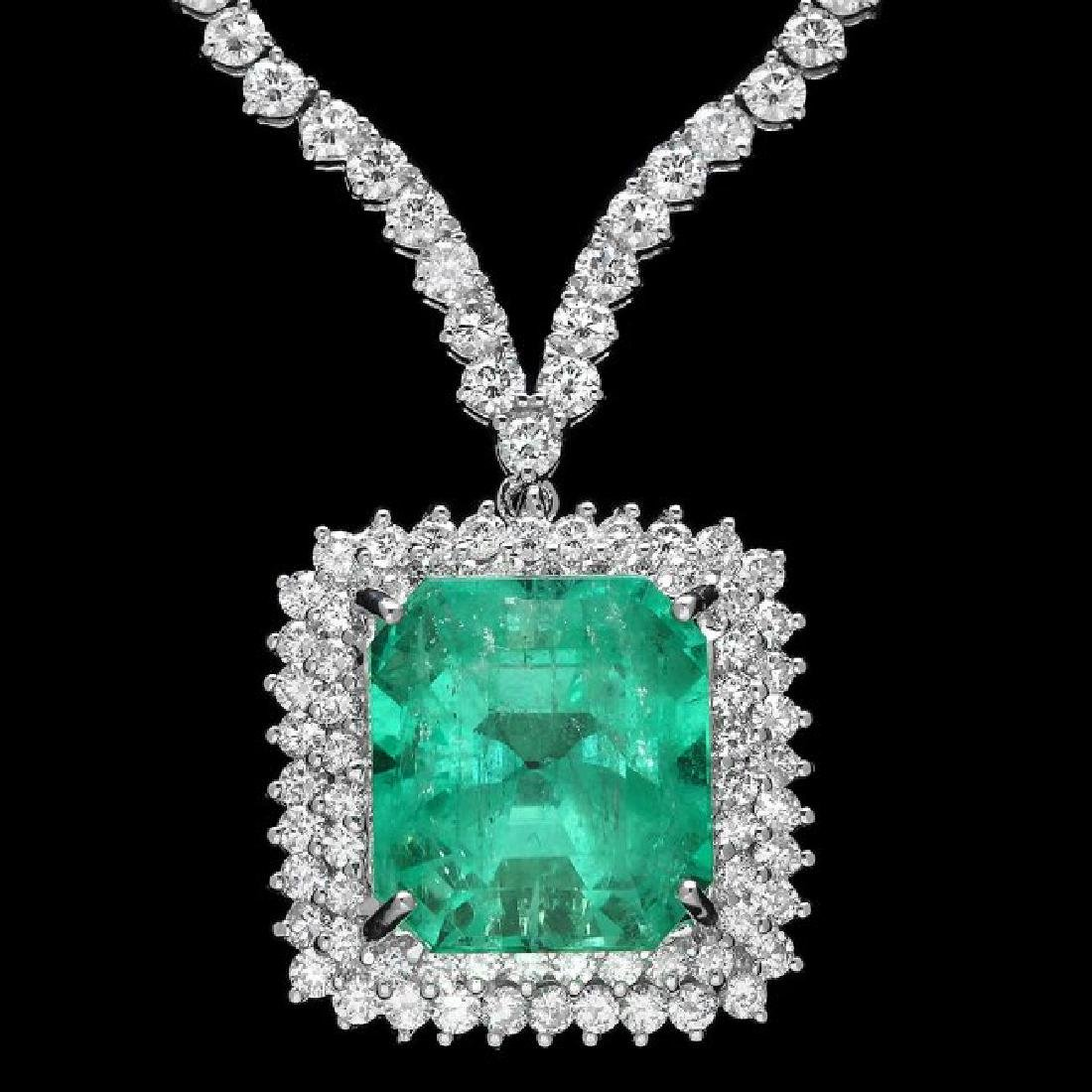18k Gold 17.00ct Emerald 10.70ct Diamond Necklace