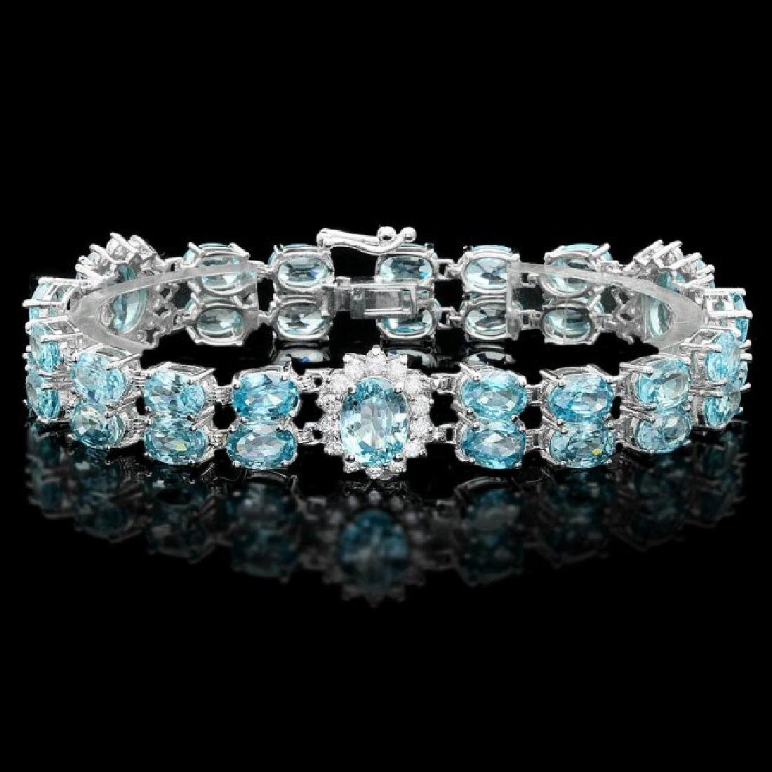 14k Gold 44.5ct Zircon 1.50ct Diamond Bracelet