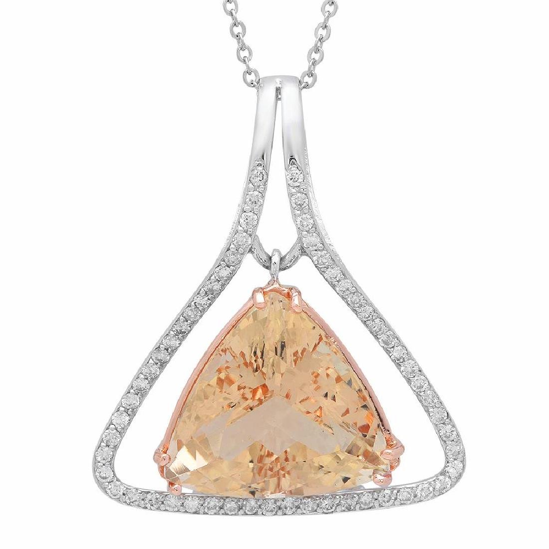 14K Gold 23.86ct Morganite1.10ct Diamond Pendant