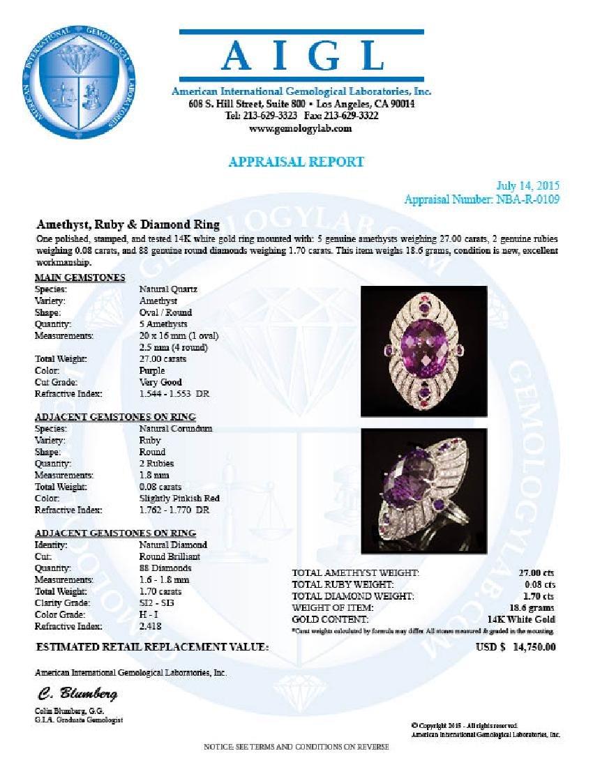 14K Gold 27.00ct Amethyst, 0.08ct Ruby 1.70ct Diamond - 4