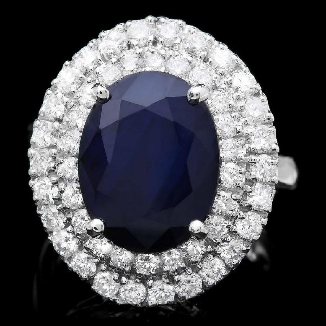 14k Gold 8.00ct Sapphire 1.65ct Diamond Ring