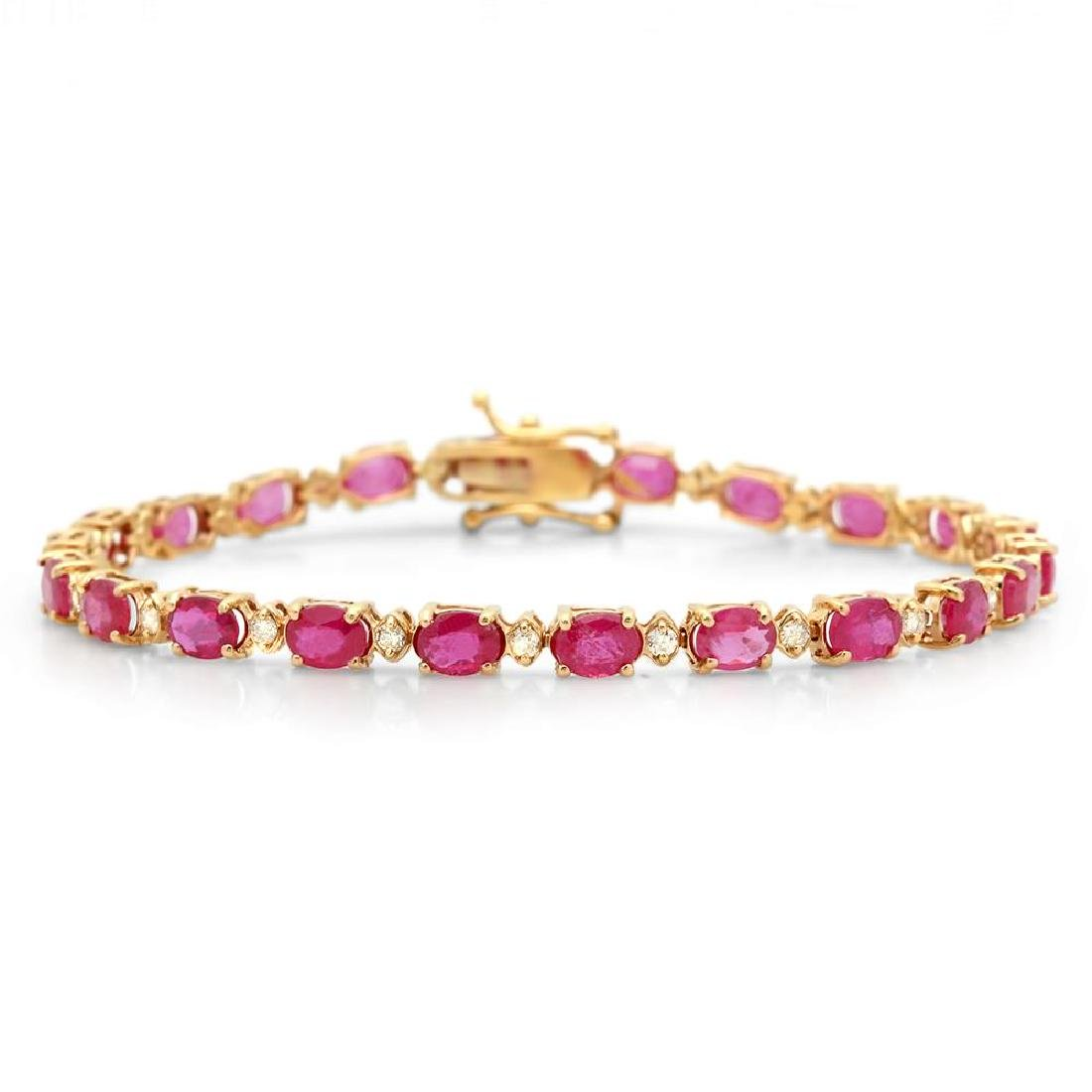 14K Gold 9.65ct Ruby 0.70cts Diamond Bracelet