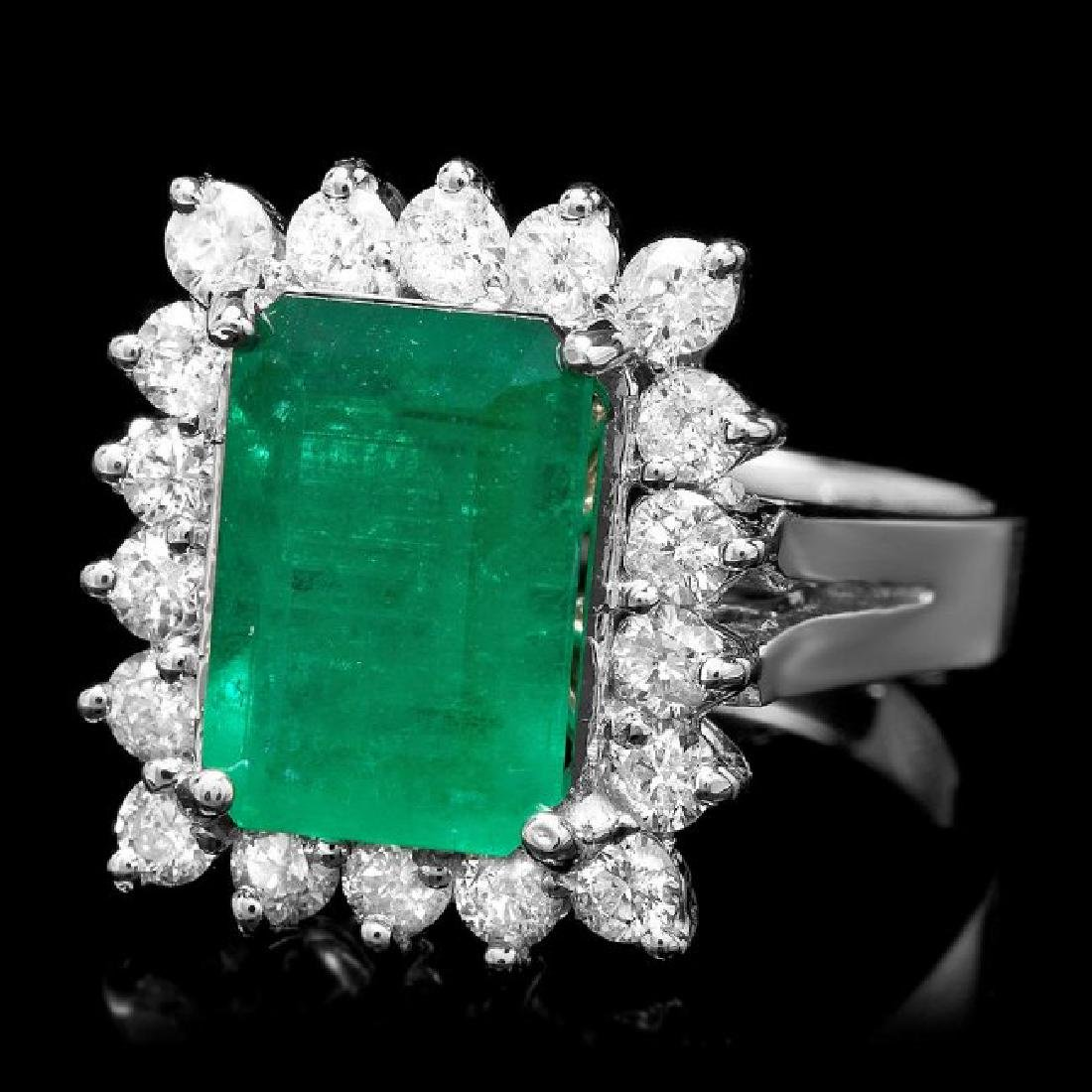 14k White Gold 3.50ct Emerald 0.95ct Diamond Ring