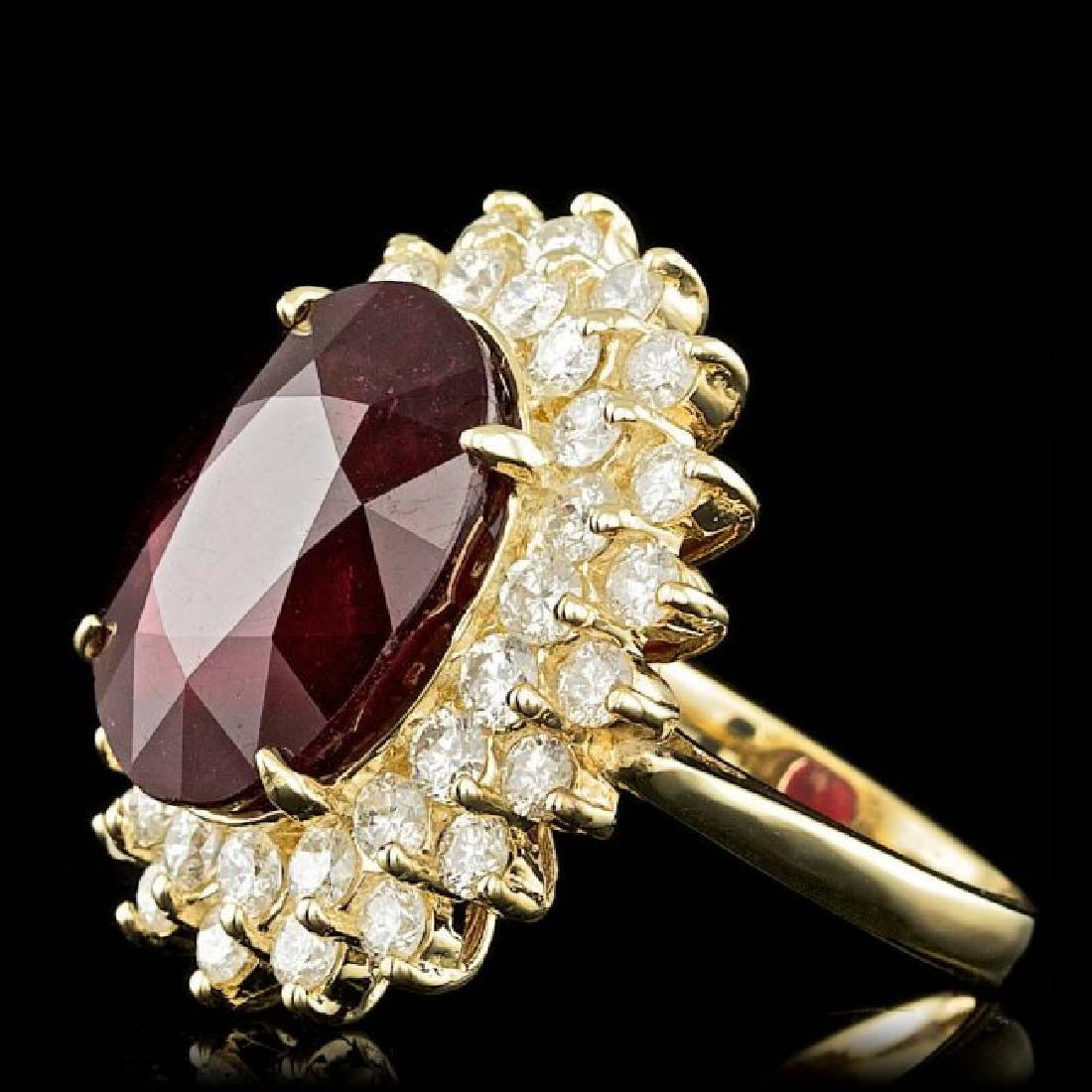 14k Yellow Gold 13.50ct Ruby 2.00ct Diamond Ring