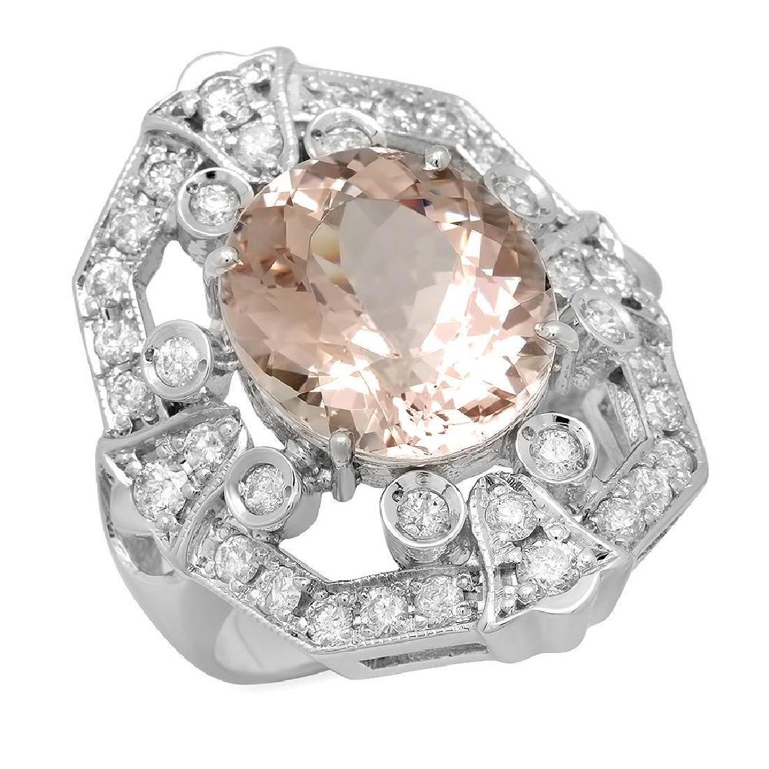14K Gold 7.28ct Morganite 1.18ct Diamond Ring