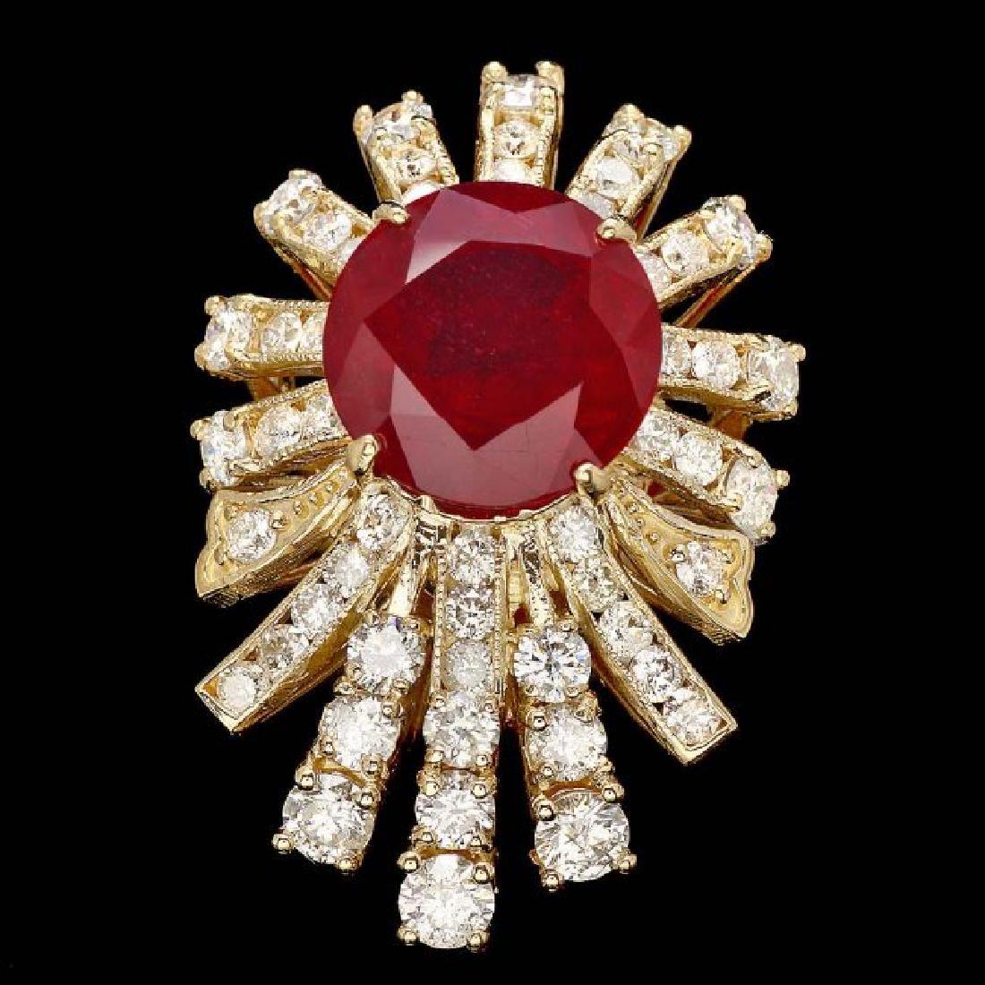 14k Yellow Gold 7.00ct Ruby 2.60ct Diamond Ring