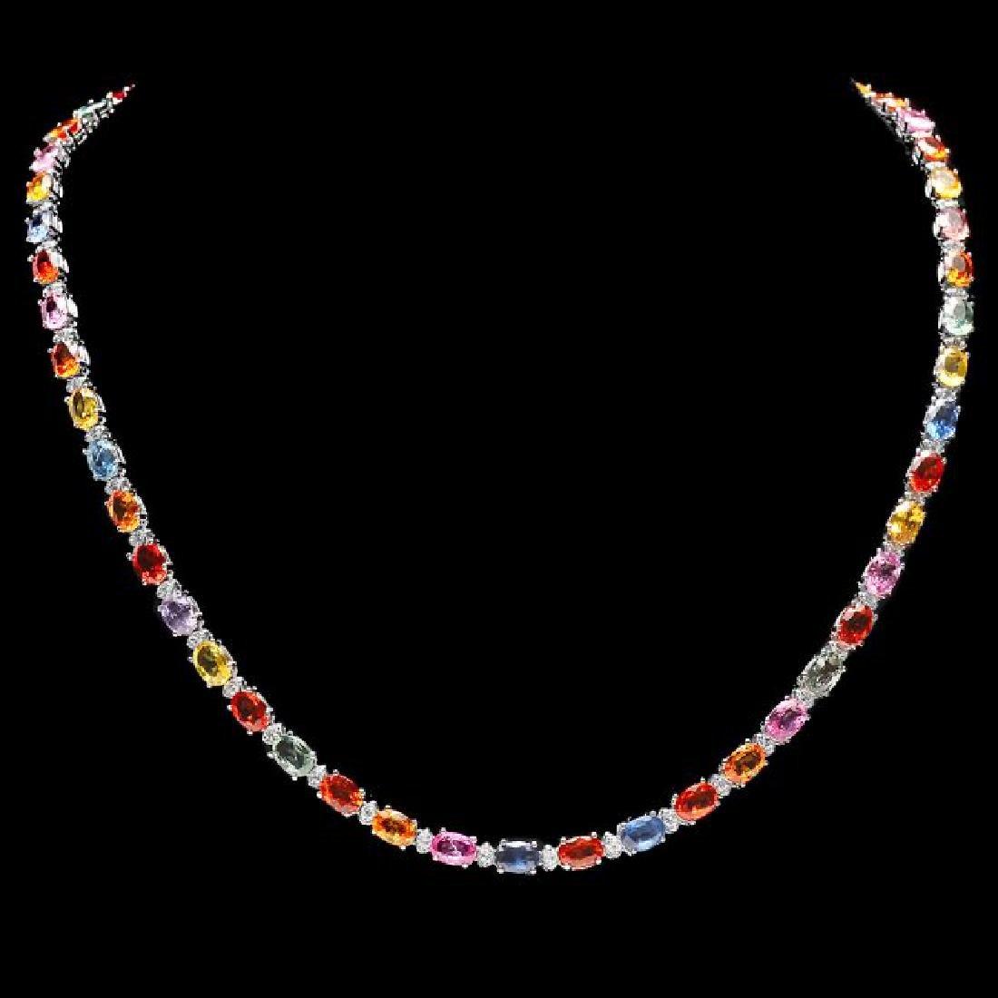 14k Gold 29ct Sapphire 1.45ct Diamond Necklace