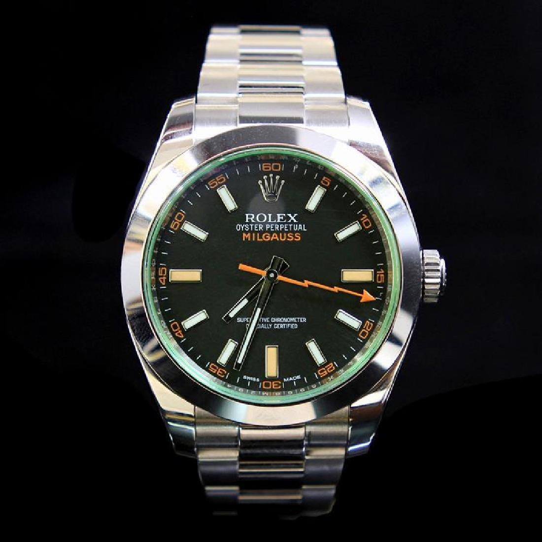 Rolex Milgauss 40mm Green Sapphire Mens Wristwatch