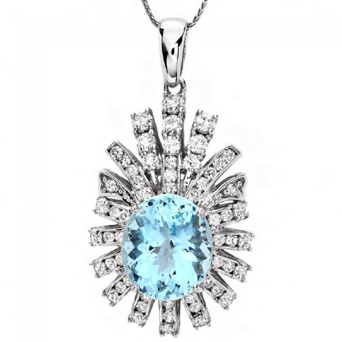 14k Gold 8ct Aquamarine 2.50ct Diamond Pendant - 2