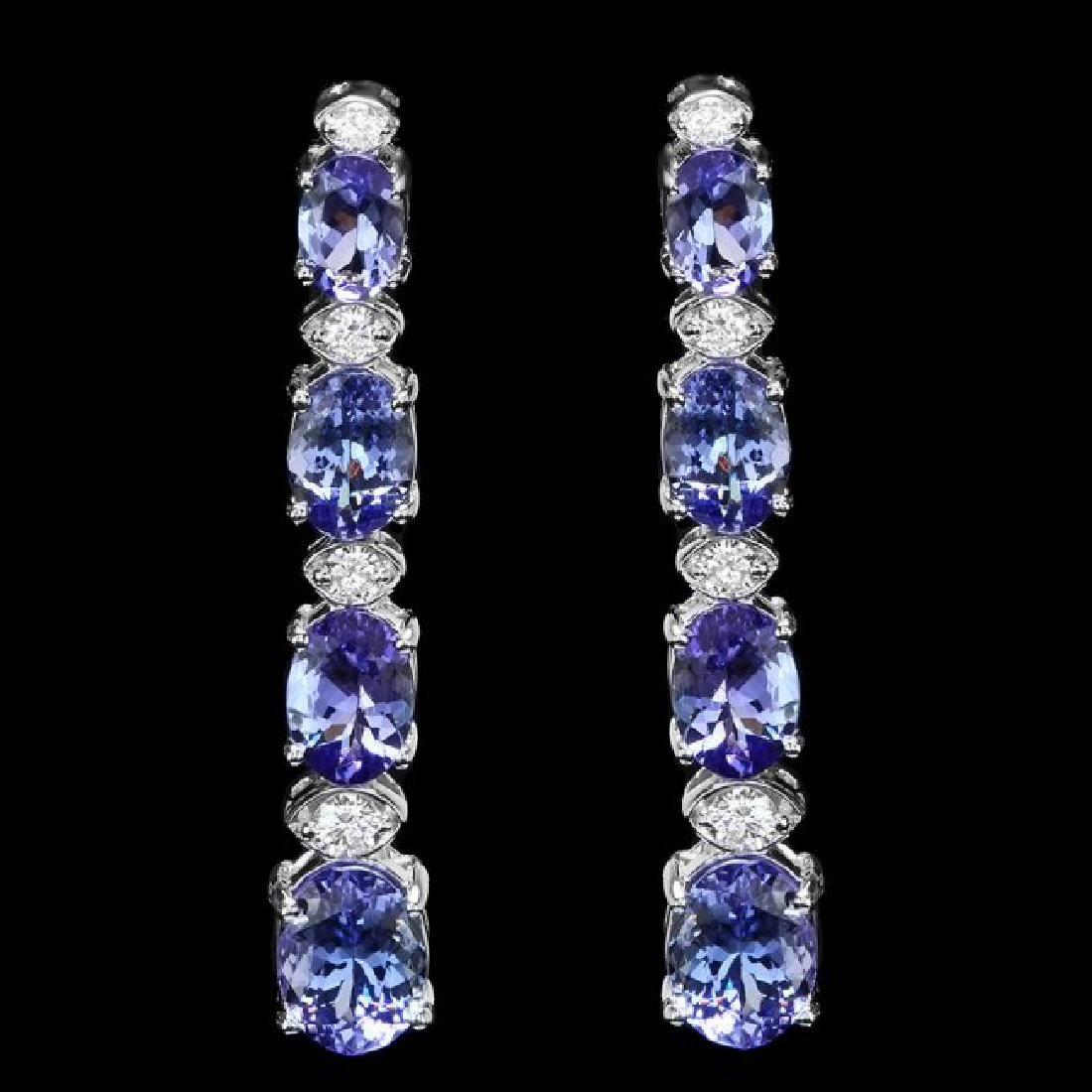 14k Gold 6.00ct Tanzanite 0.45ct Diamond Earrings