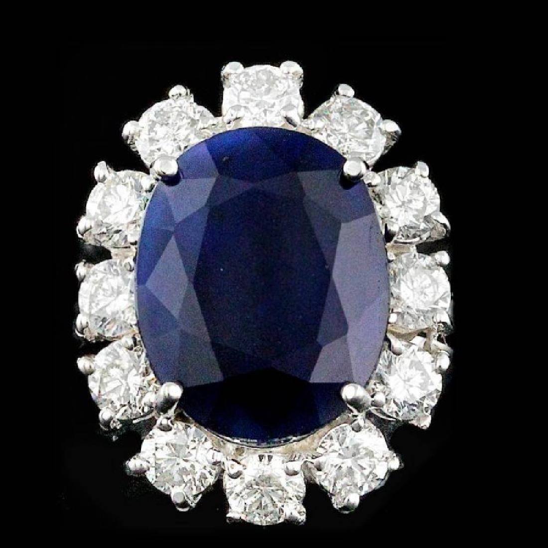 14k Gold 8.50ct Sapphire 2.30ct Diamond Ring