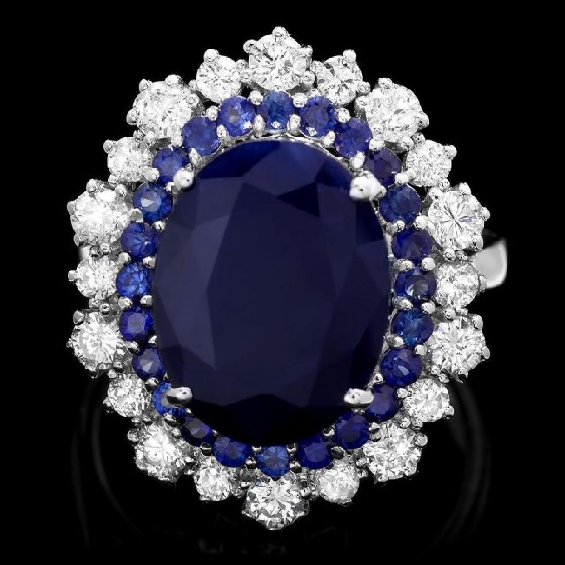 14k White Gold 7.2ct Sapphire 1.00ct Diamond Ring