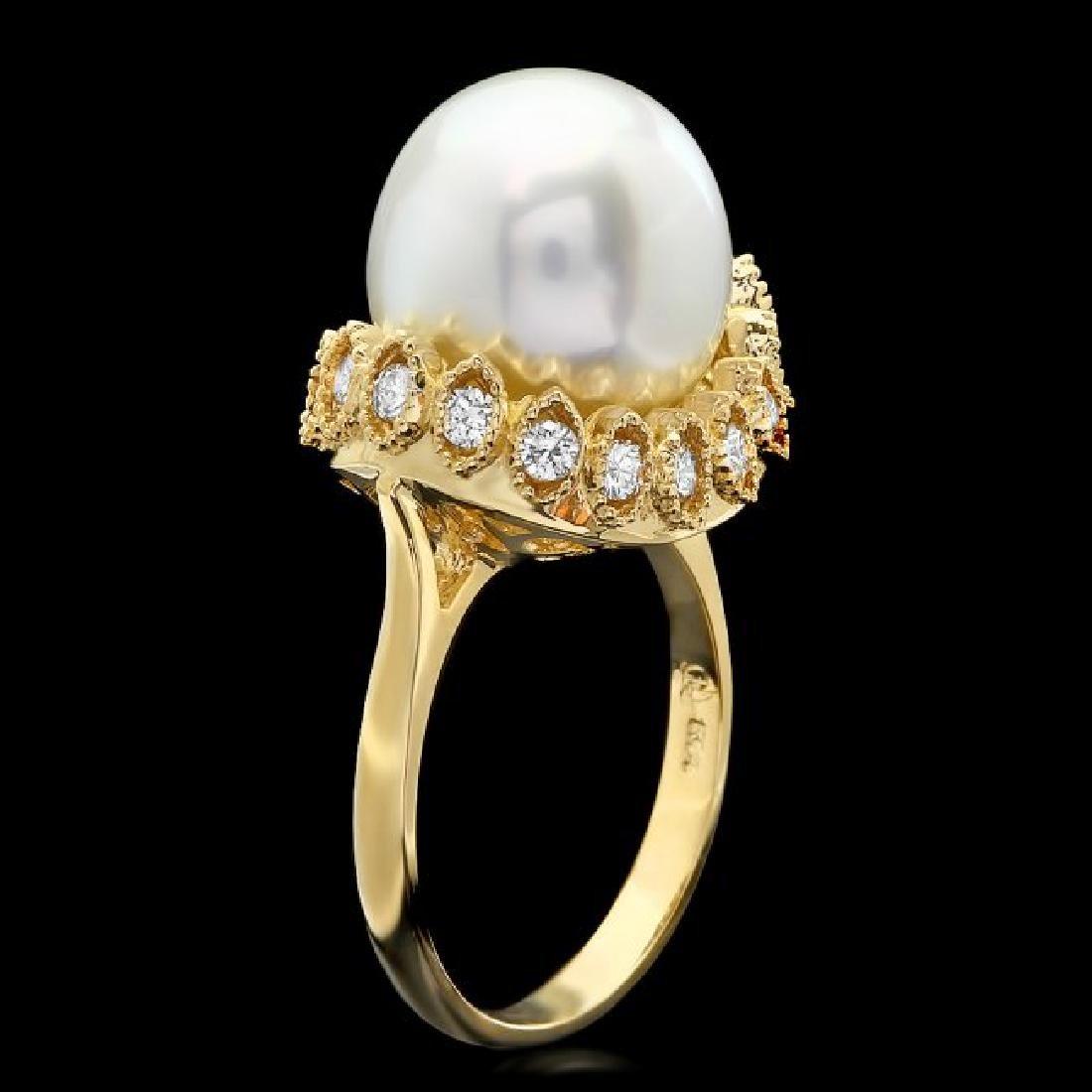 14k Yellow Gold 12mm Pearl 0.65ct Diamond Ring