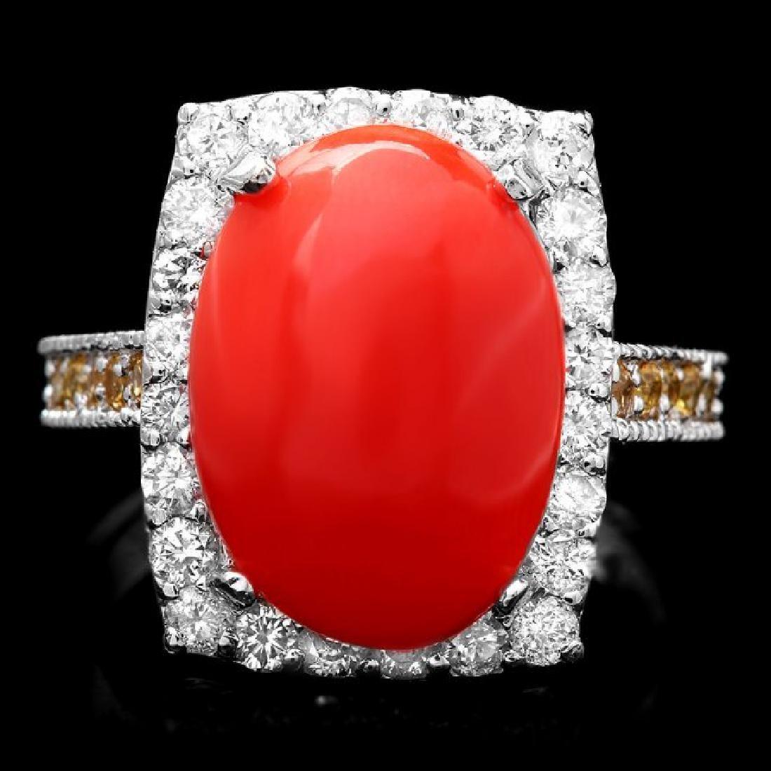 14k White Gold 5.50ct Coral 1.00ct Diamond Ring