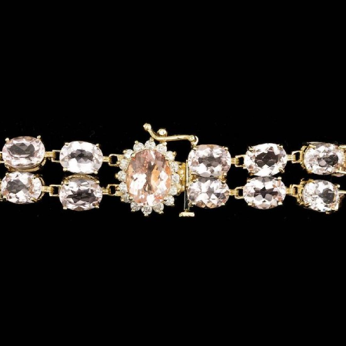 14k Gold 41.5ct Morganite 0.60ct Diamond Bracelet