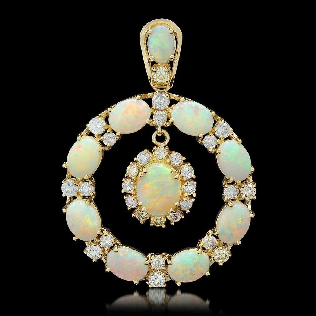 14K Gold 7.43ct Opal 2.42ct Diamond Pendant