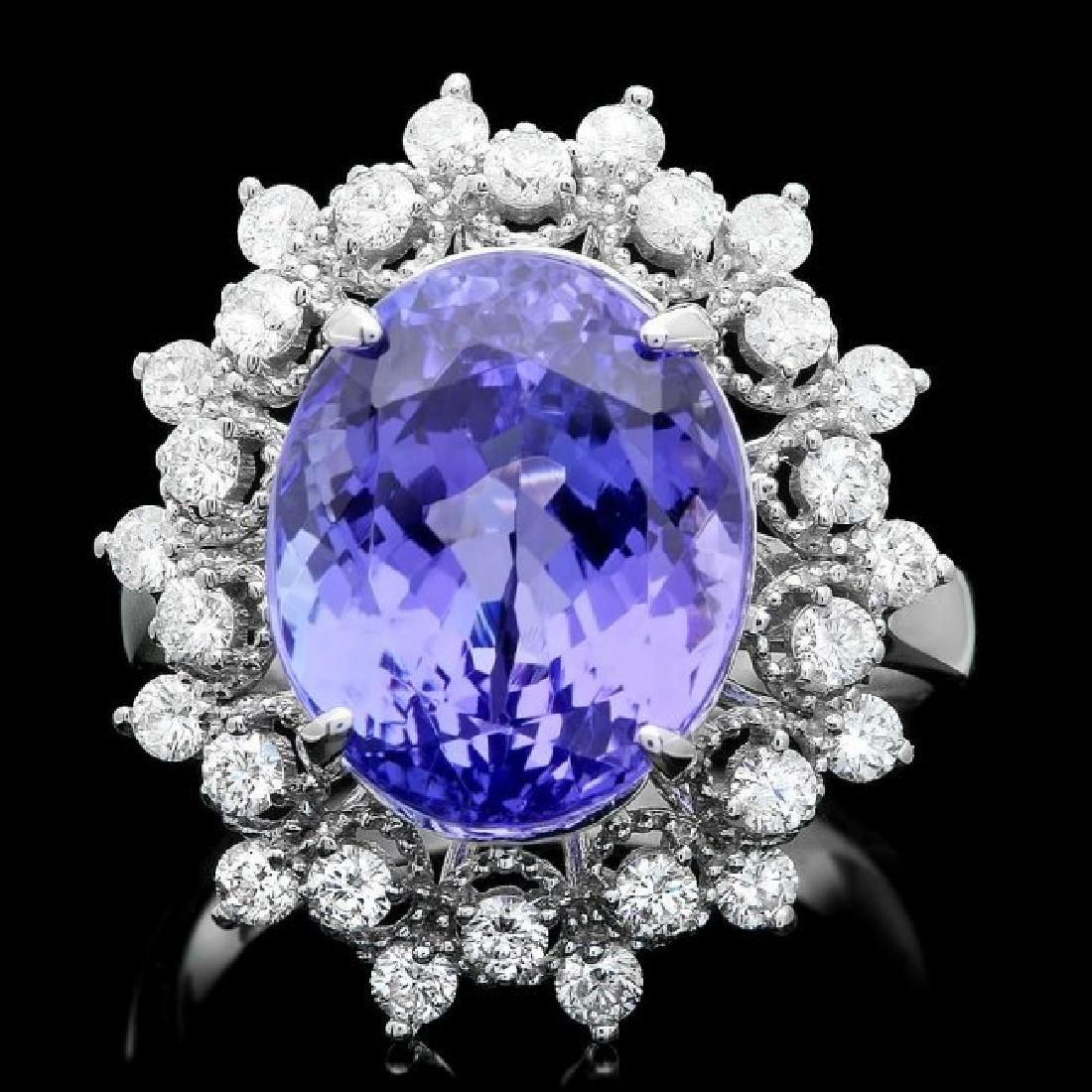 14k Gold 8.50ct Tanzanite 0.85ct Diamond Ring