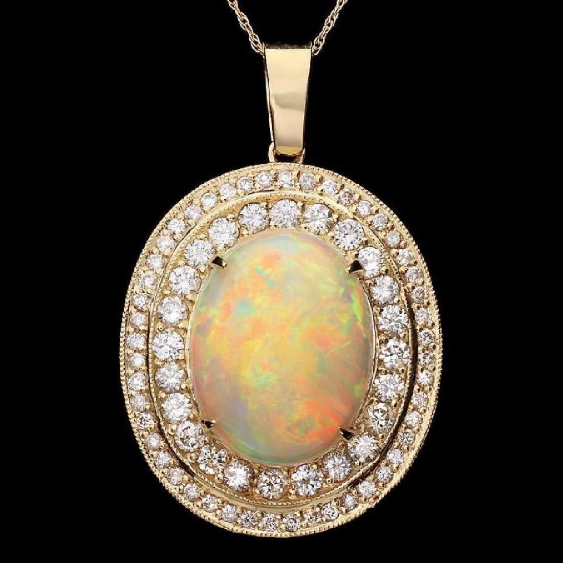 14k Gold 9.70ct Opal 2.30ct Diamond Pendant