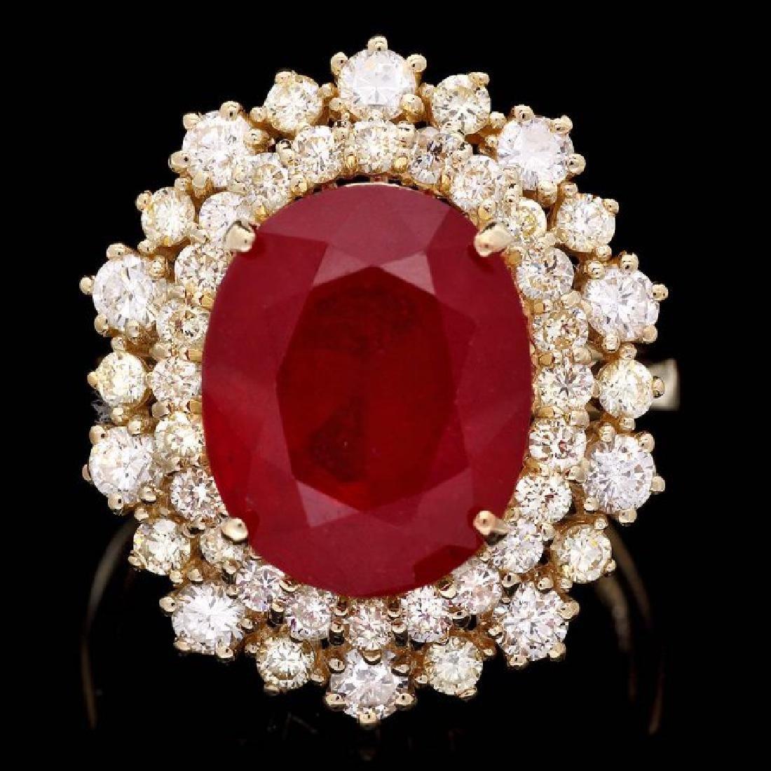 14k Yellow Gold 7.70ct Ruby 1.50ct Diamond Ring