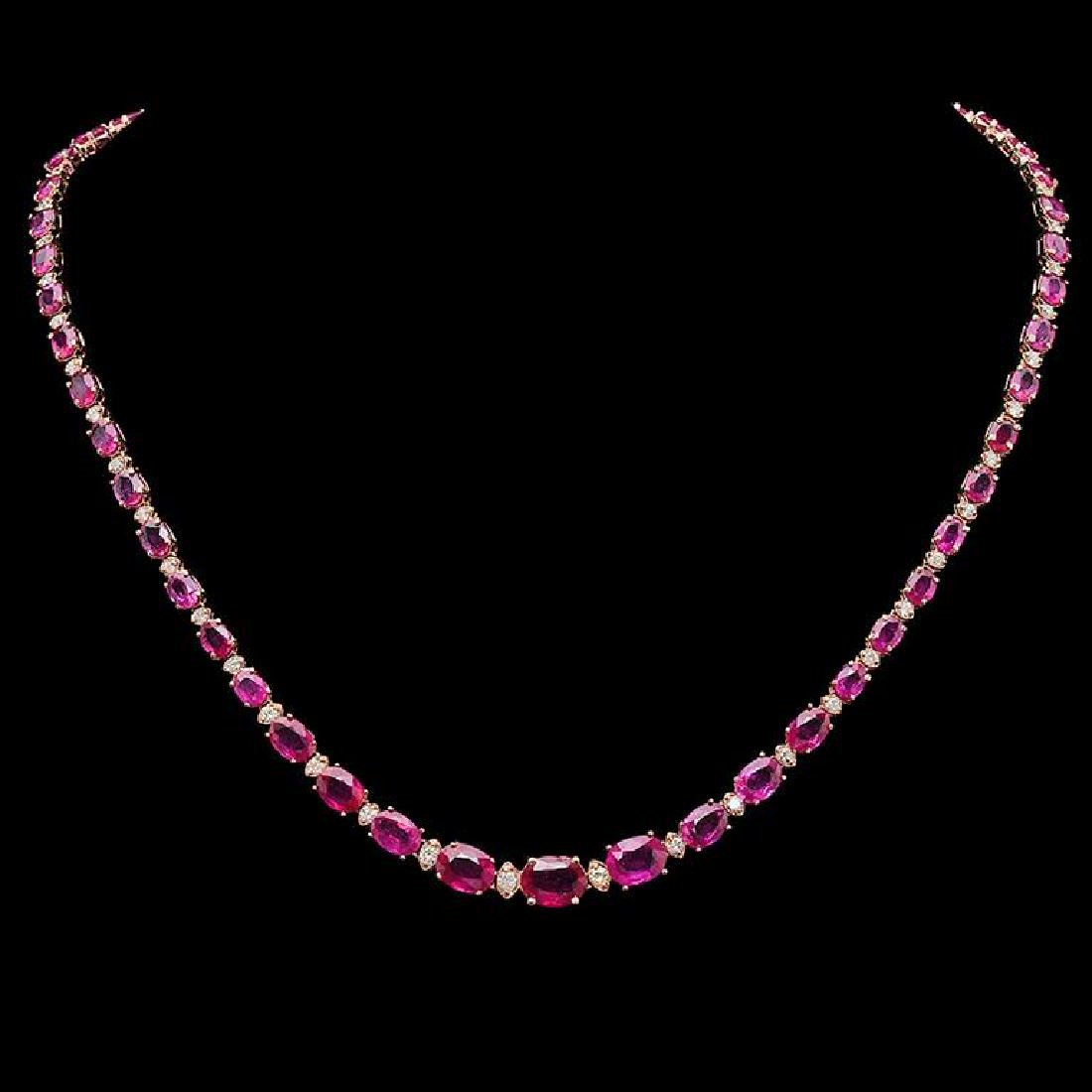 14K Gold 28.65ct Ruby & 1.65ct Diamond Necklace