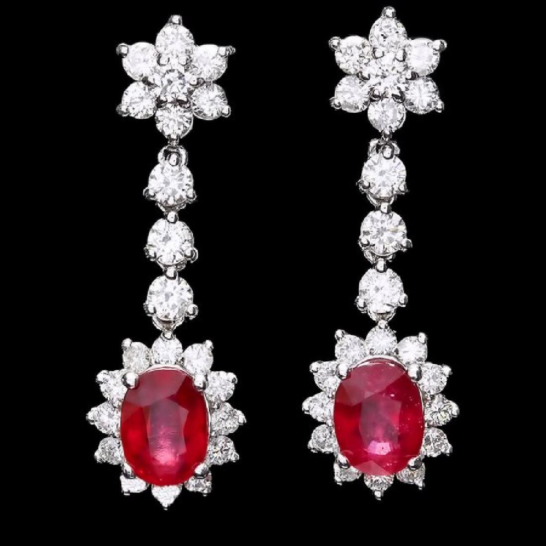 14k Gold 4.00ct Ruby 2.50ct Diamond Earrings