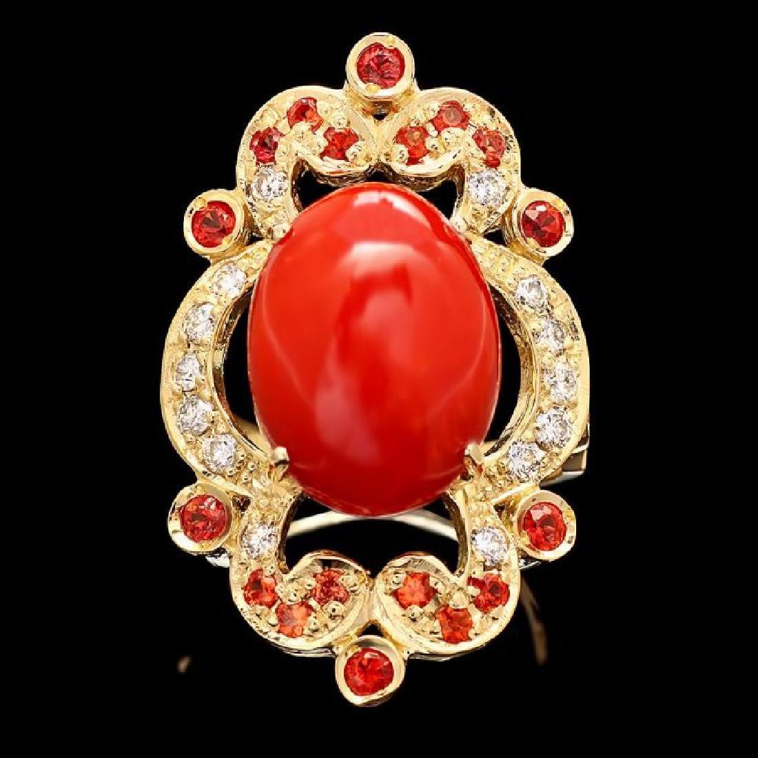 14k Yellow Gold 8.00ct Coral 0.70ct Diamond Ring
