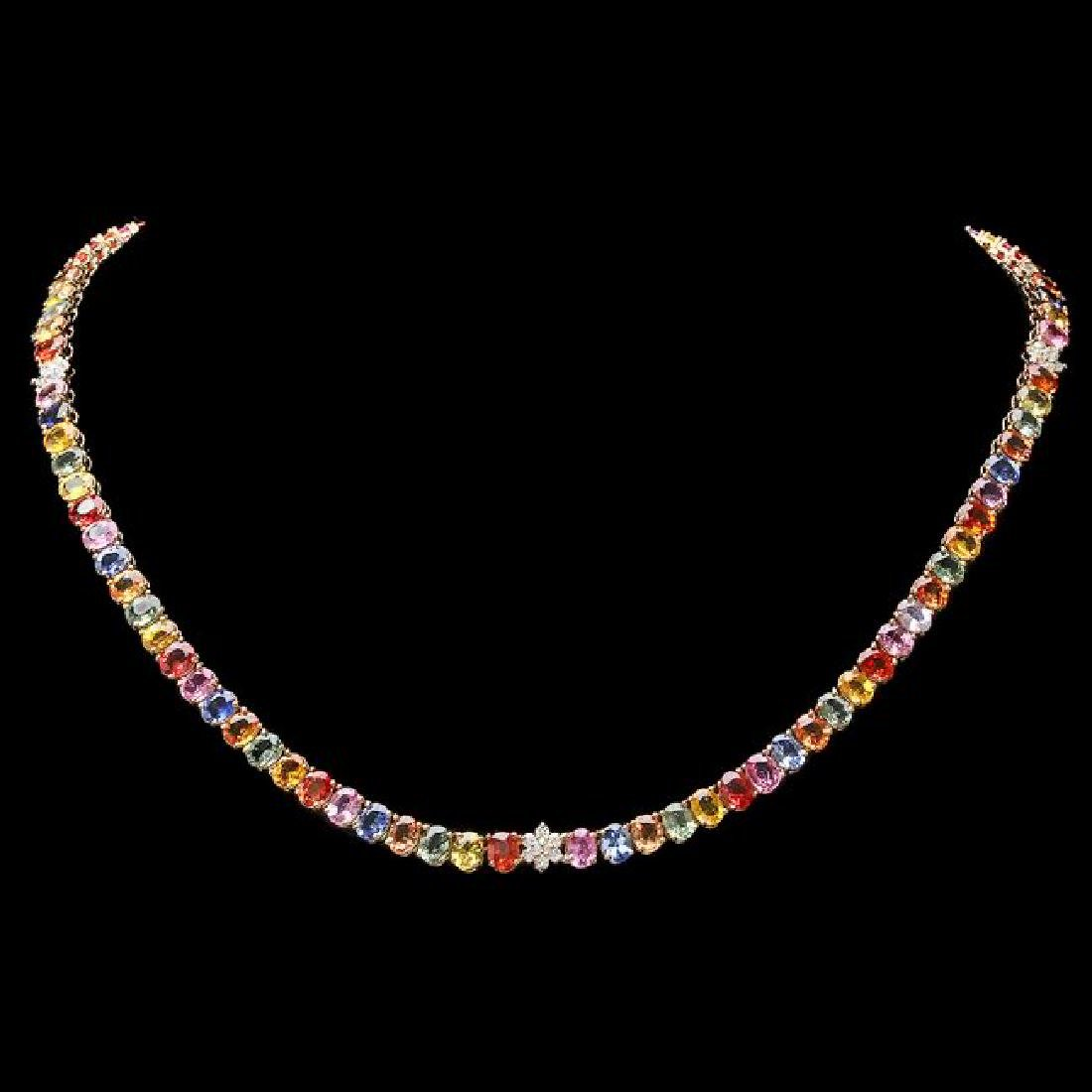 14k Gold 56ct Sapphire 0.70ct Diamond Necklace