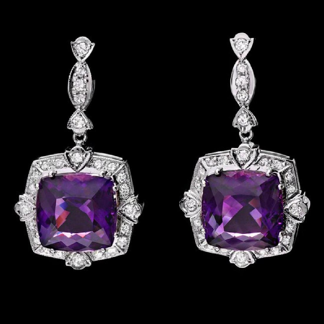 14k Gold 22.50ct Amethyst 0.40ct Diamond Earrings