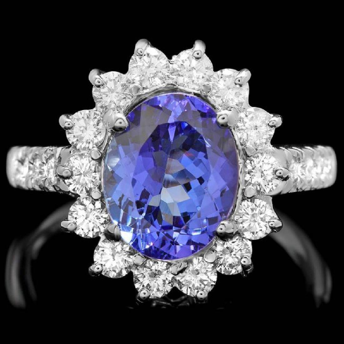 18k Gold 3.00ct Tanzanite 1.05ct Diamond Ring