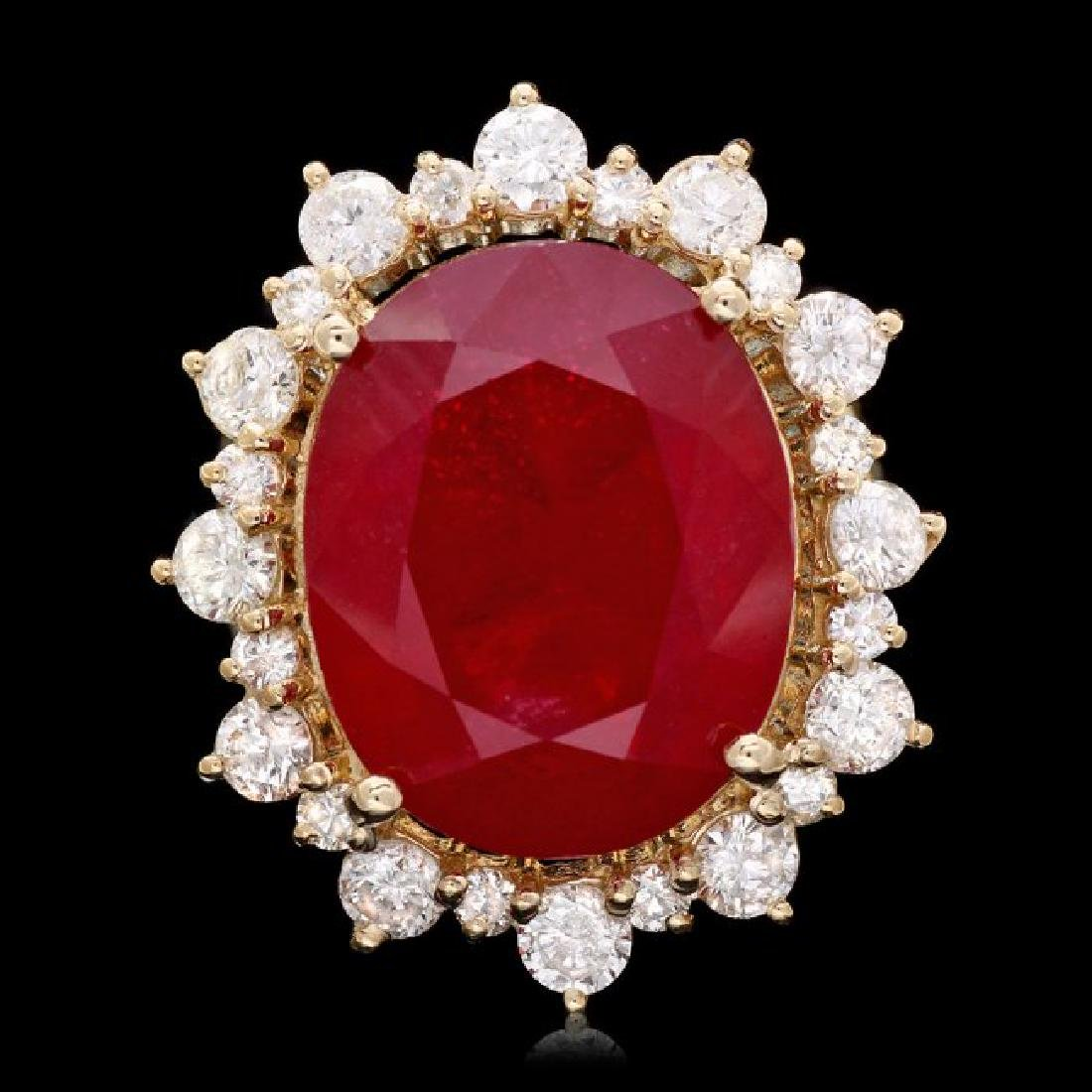 14k Yellow Gold 21.00ct Ruby 2.00ct Diamond Ring