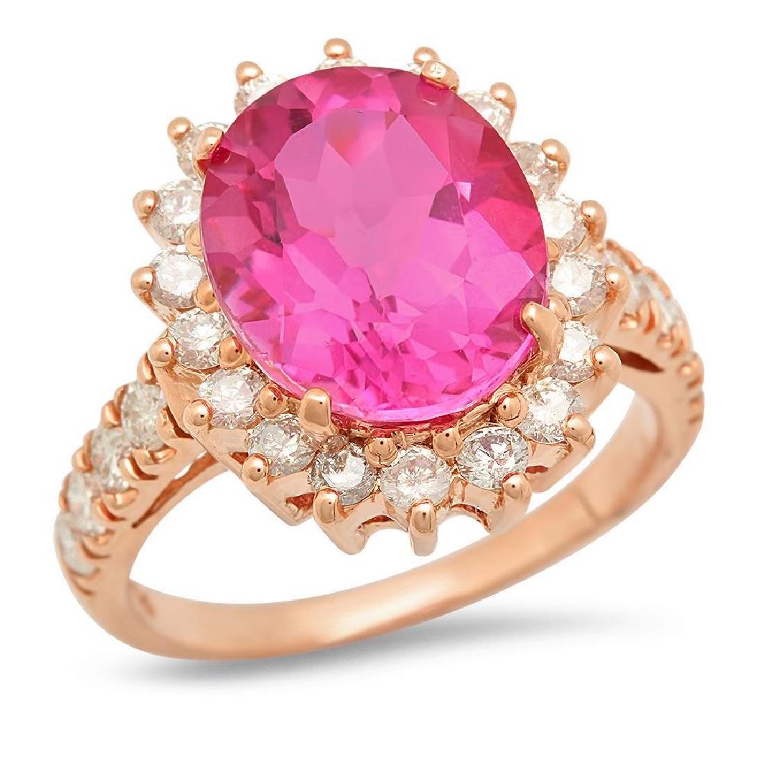 14K Gold 6.01ct Pink Topaz 1.10cts Diamond Ring