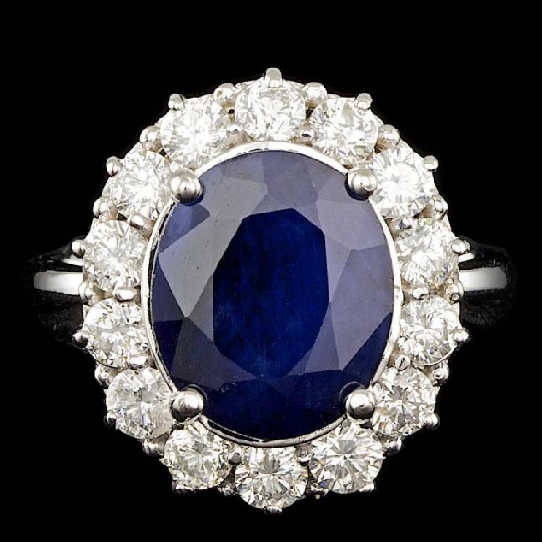 14k Gold 5.50ct Sapphire 1.50ct Diamond Ring