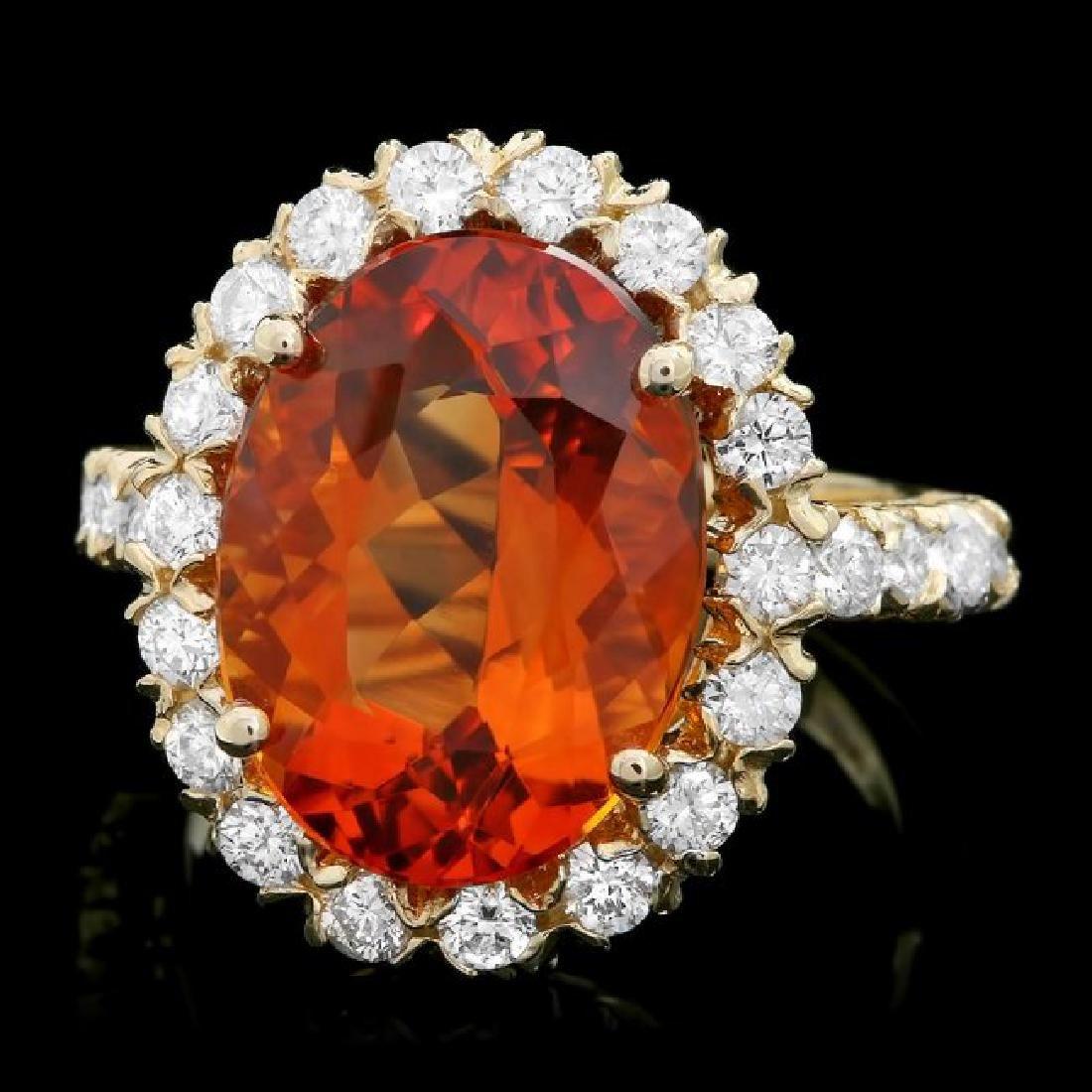 14k Gold 6.50ct Citrine 1.10ct Diamond Ring