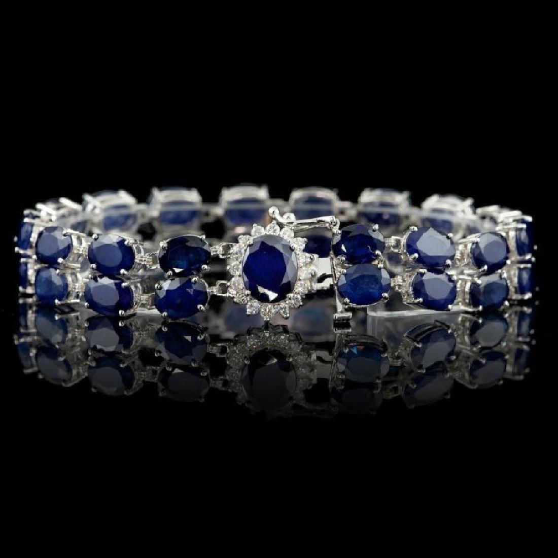 14k Gold 50ct Sapphire 0.65ct Diamond Bracelet