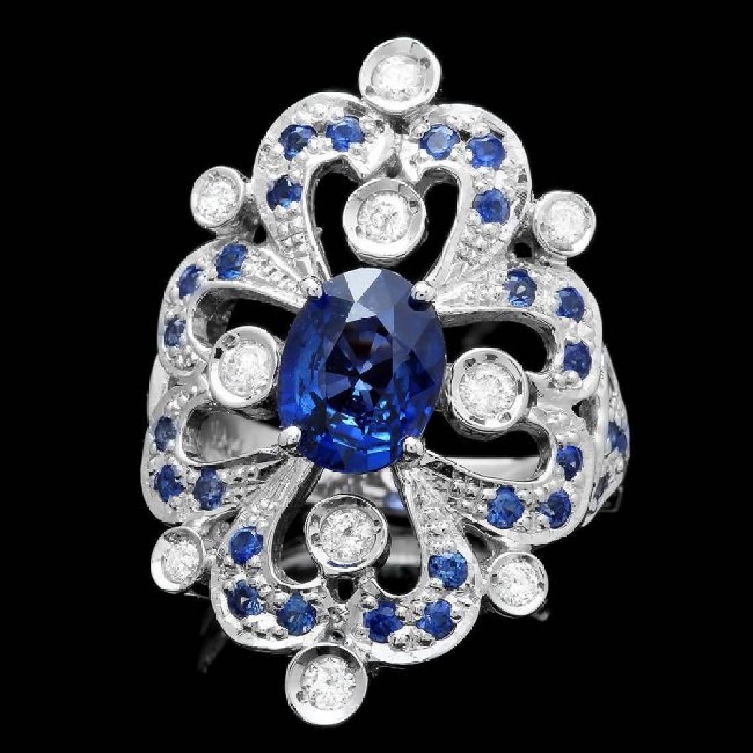 14k Gold 2.85ct Sapphire 0.40ct Diamond Ring