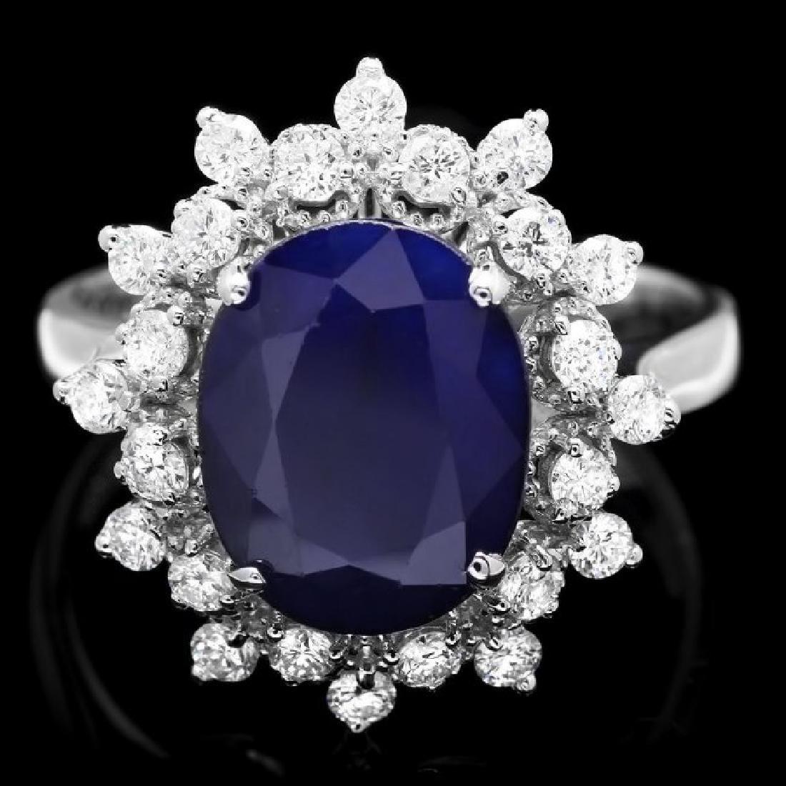 14k Gold 3.65ct Sapphire 0.60ct Diamond Ring