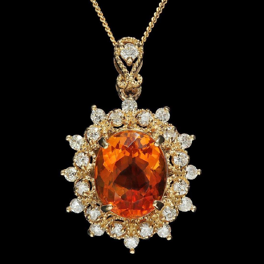 14K Gold 4.03ct Citrine 0.70ct Diamond Pendant