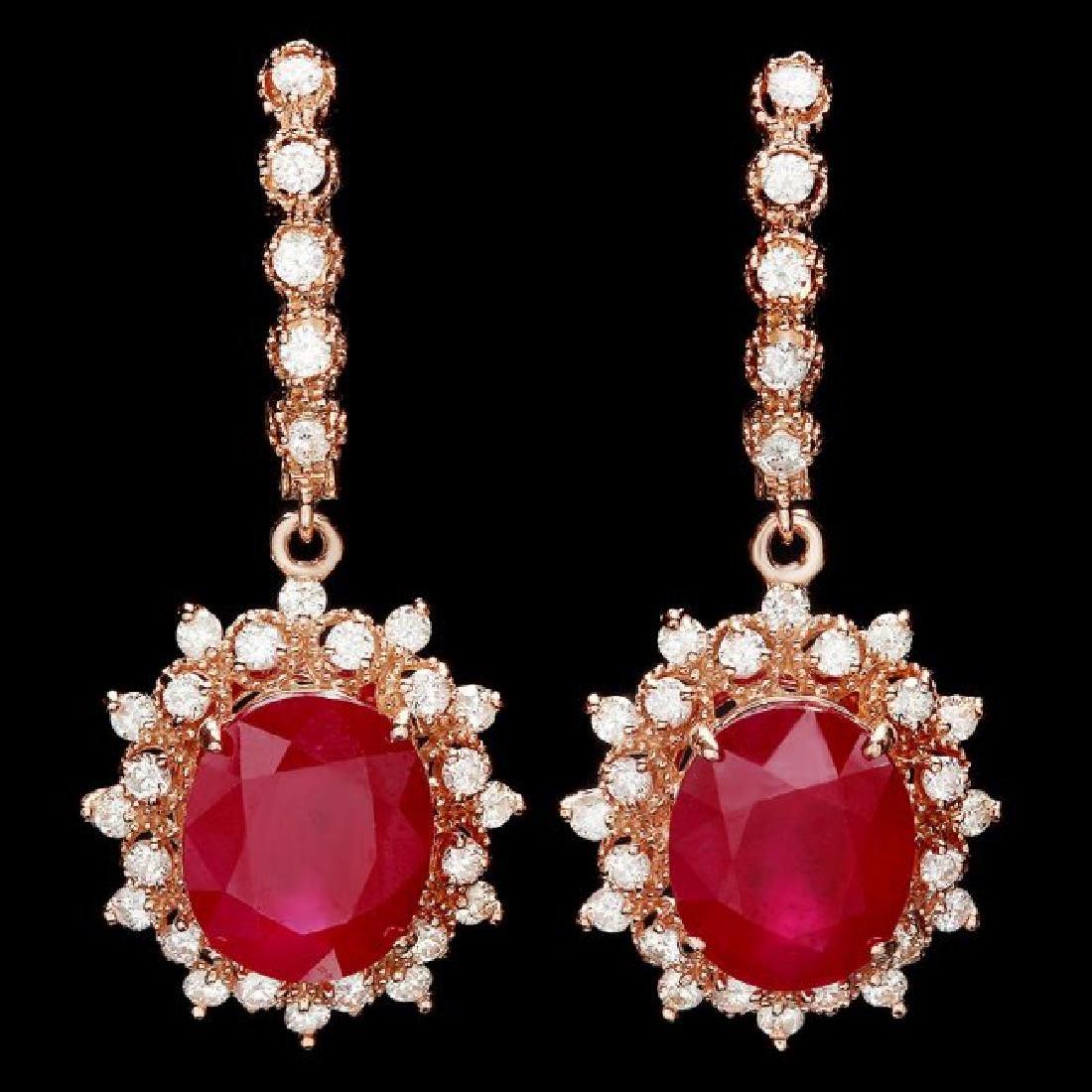 14k Rose 14.00ct Ruby 1.55ct Diamond Earrings
