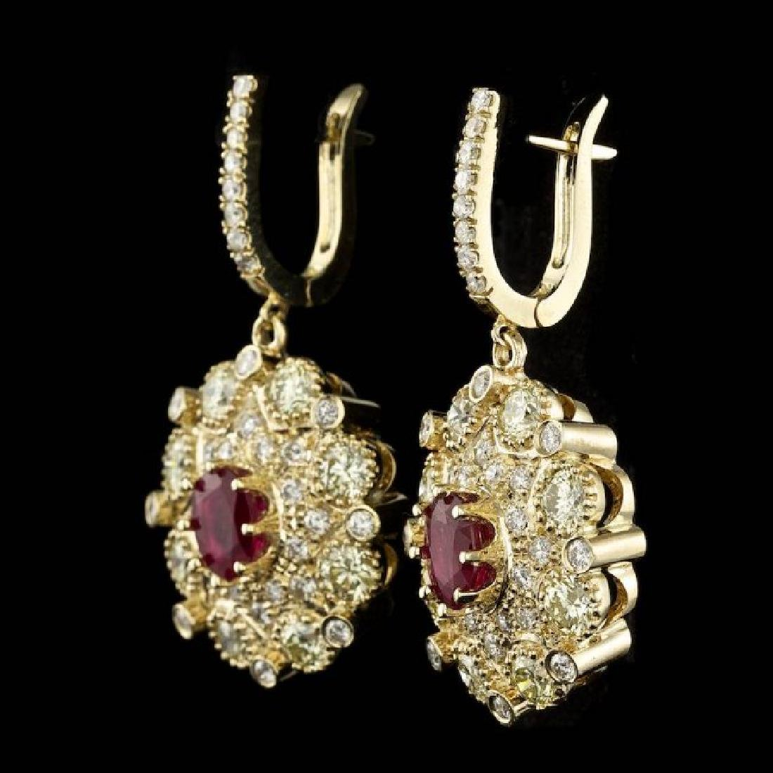 14k Yellow Gold 2.50ct Ruby 7ct Diamond Earrings - 2