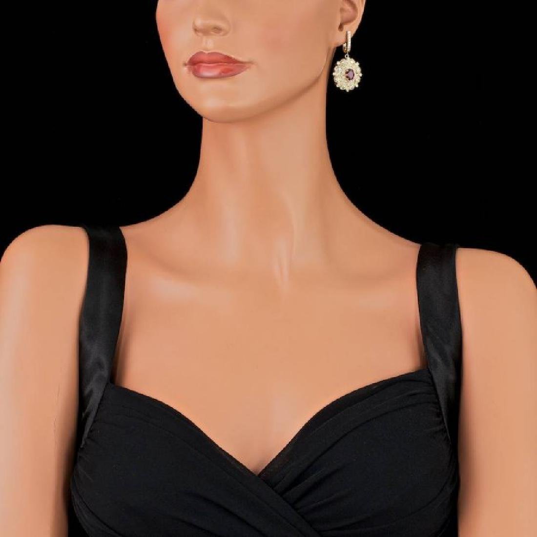14k Yellow Gold 2.50ct Ruby 7ct Diamond Earrings - 3