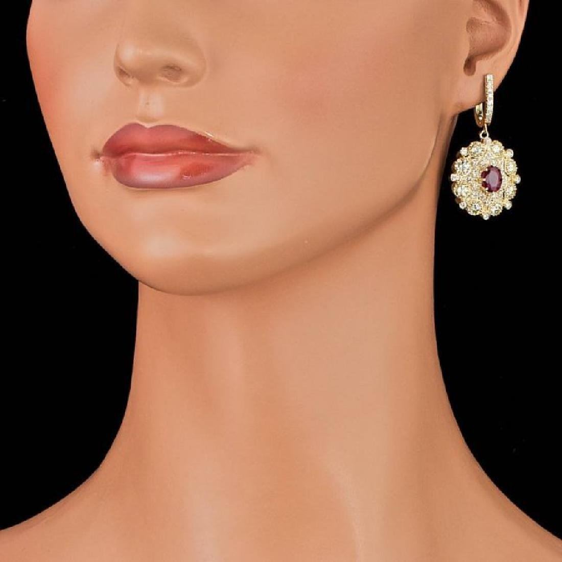 14k Yellow Gold 2.50ct Ruby 7ct Diamond Earrings - 4