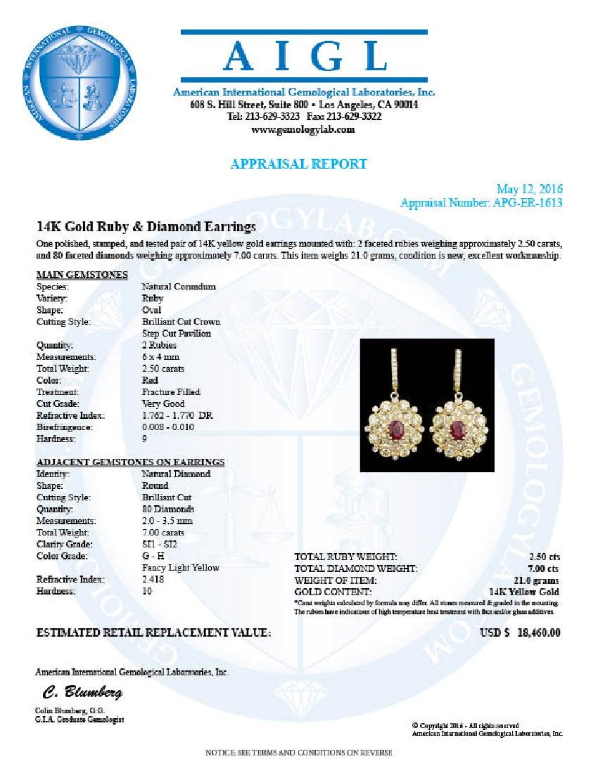 14k Yellow Gold 2.50ct Ruby 7ct Diamond Earrings - 5