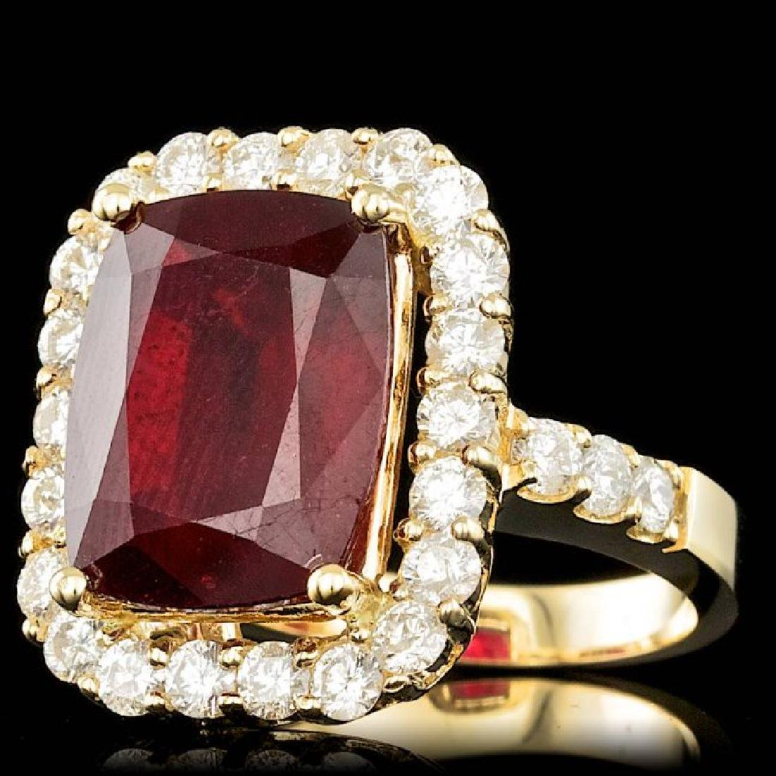 14k Yellow Gold 11.50ct Ruby 1.90ct Diamond Ring - 2