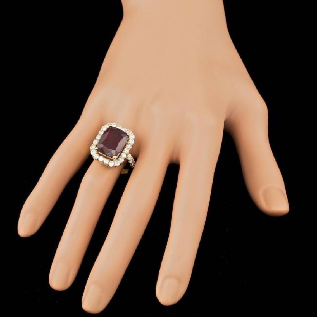 14k Yellow Gold 11.50ct Ruby 1.90ct Diamond Ring - 3