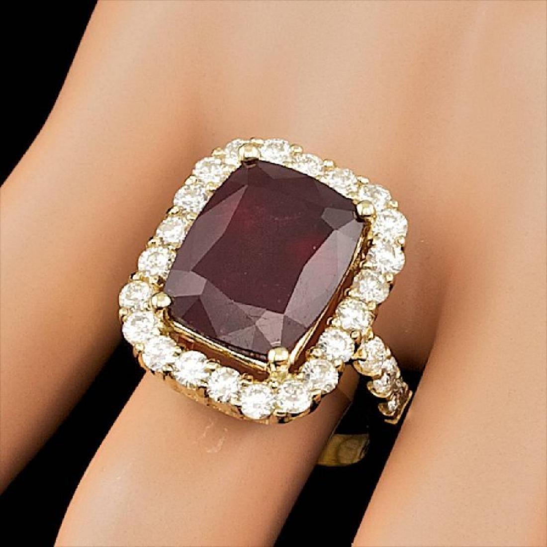 14k Yellow Gold 11.50ct Ruby 1.90ct Diamond Ring - 4