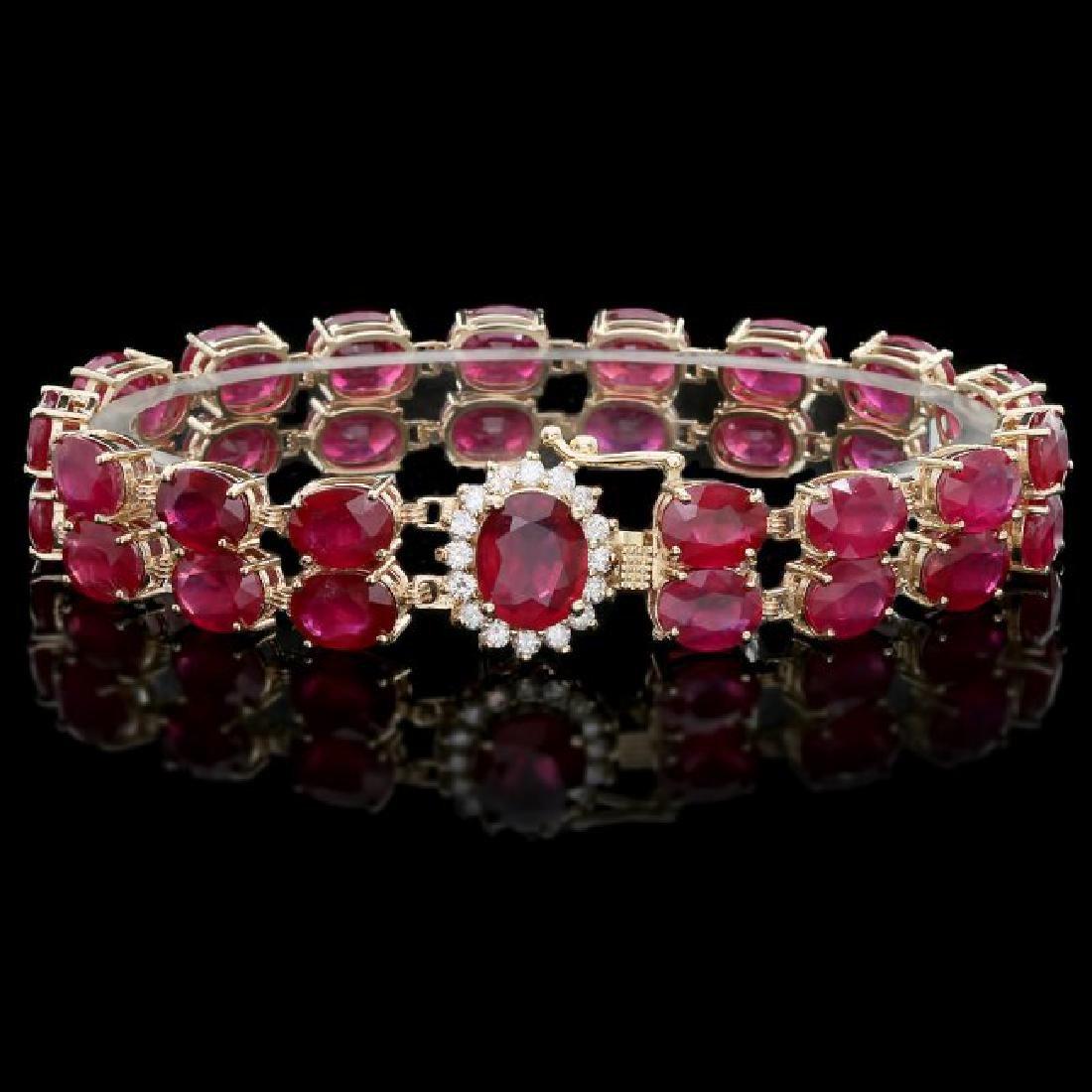 14k Yellow Gold 58ct Ruby 0.65ct Diamond Bracelet