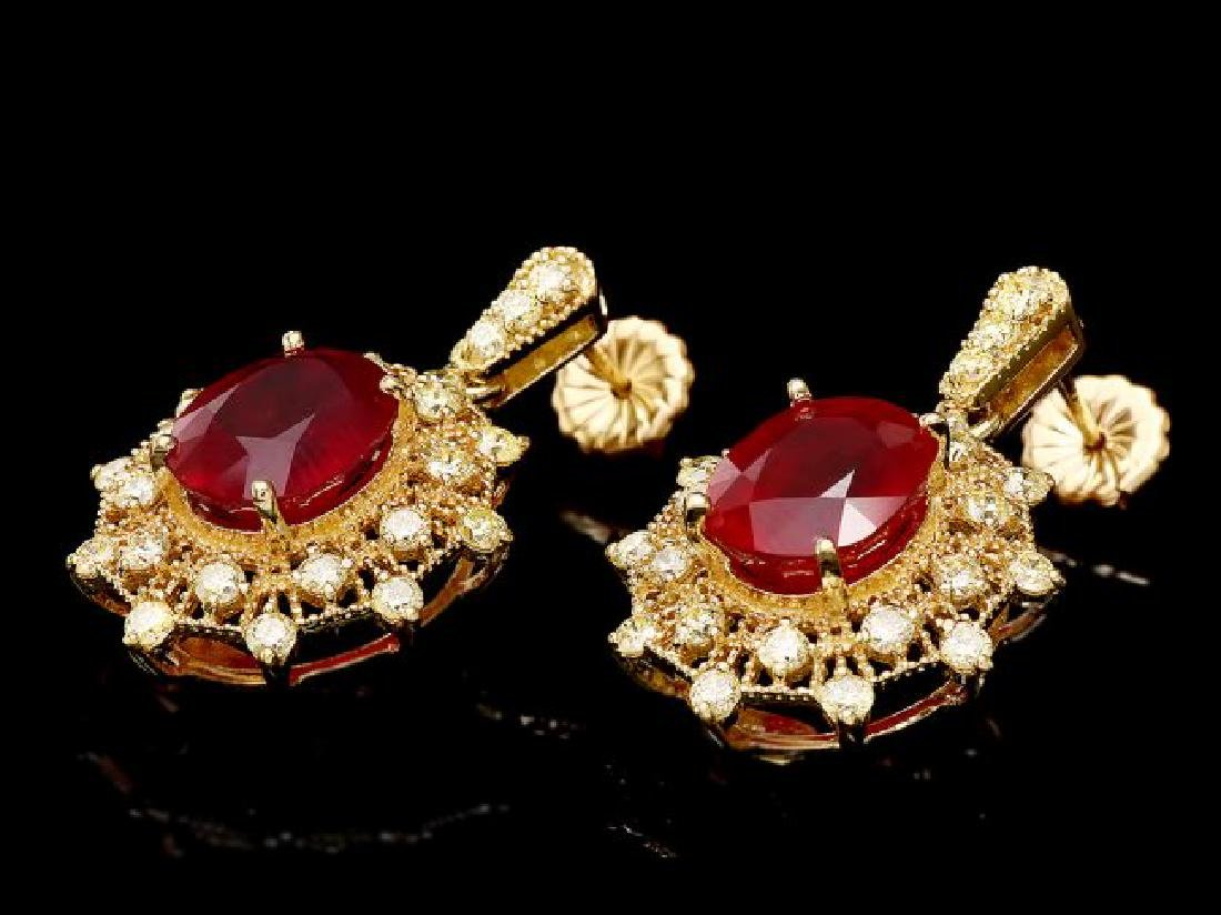 14k Gold 11.00ct Ruby 2.00ct Diamond Earrings