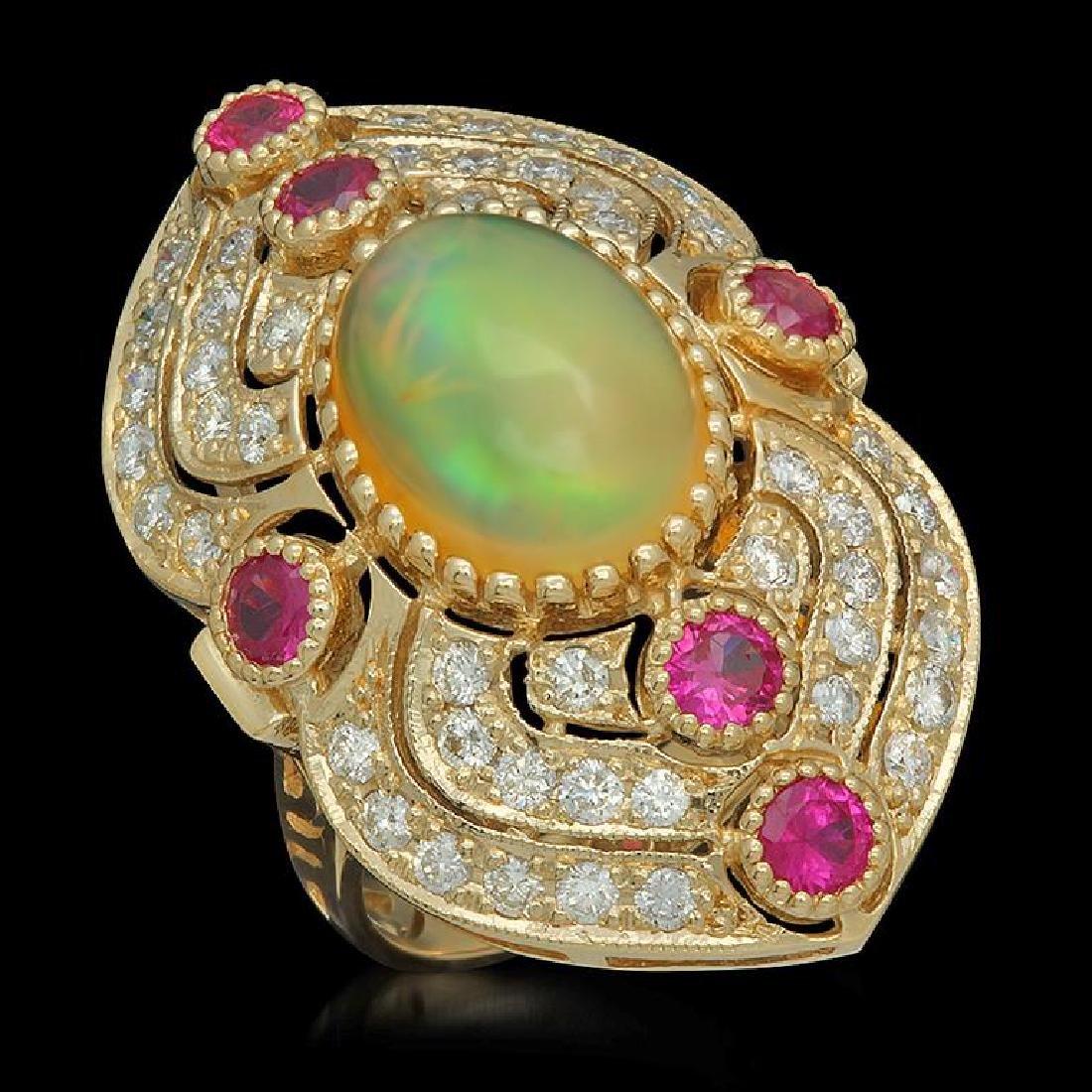 14K Gold 3.60ct Opal, 1.20ct Ruby & 1.51ct Diamond Ring