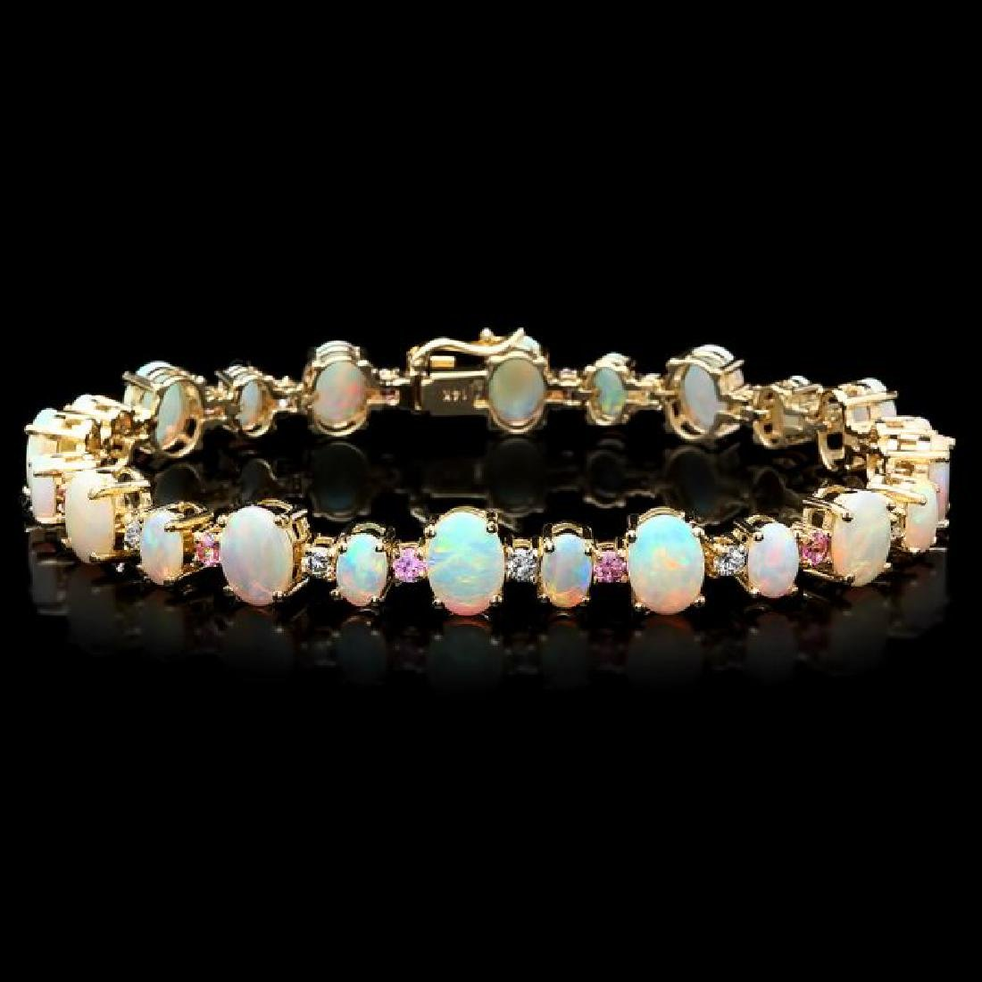 14k Gold 12.00ct Opal 0.85ct Diamond Bracelet